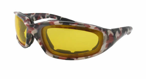 Red Camo Yellow Lens Safety Glasses