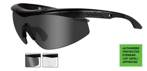 Wiley X Rx Talon in Matte Black ; 2-Lens Set Smoke & Clear Lens