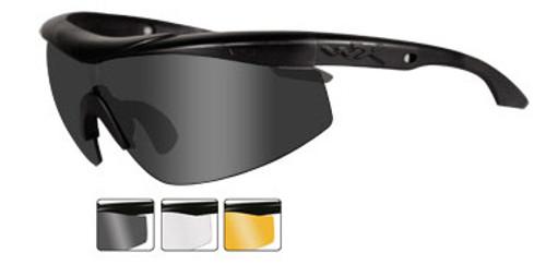Wiley X Rx Talon in Matte Black ; 3-Lens Set Smoke, Clear, & Rust Lens