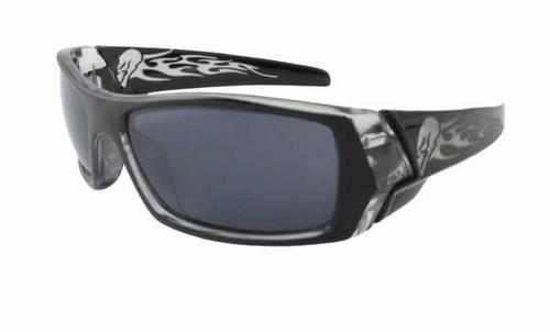 Calabria Fashion Sunglasses Flaming Skull in Black