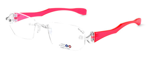 "I Wear America Designer Rimless Eyewear Made in the USA ""Freedom 1"" in Pink Diamond"