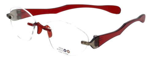 "I Wear America Designer Rimless Eyewear Made in the USA ""Freedom 1"" in Smoked Wine"