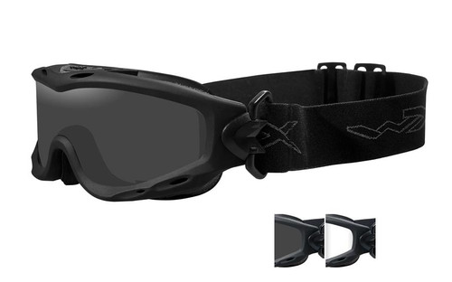 Wiley X Spear Tactical Safety Goggles in Black with Smoke & Clear Lens