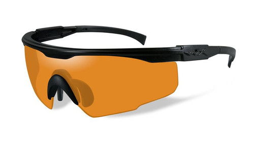 Wiley X PT-1 Wrap Around Safety Glass in Matte Black w/ Light Rust Lens