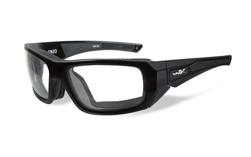 Wiley X Designer Sunglasses WX Enzo in Gloss Black Frame & Clear Lens