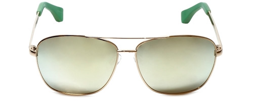 Isaac Mizrahi Designer Sunglasses Aviator in Gold-Green with Gold Mirror