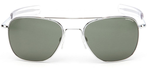 Randolph Designer Sunglasses Aviator AF076 in Bright Chrome with Gray Lens