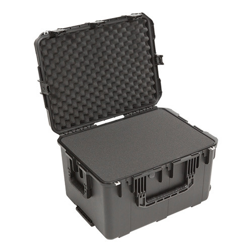 3i-2317-14B-C military standard shipping case with Cubed Foam. Includes wheels and pull handle.
