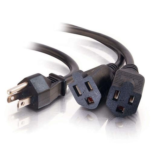 "18"" 16 AWG 1-to-2 Power Cord Splitter (1 NEMA 5-15P to 2 NEMA 5-15R) C2G 29802"