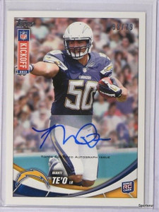 2013 Topps Kickoff Manti Te'O autograph auto rc rookie #D38/79 #19 *42789