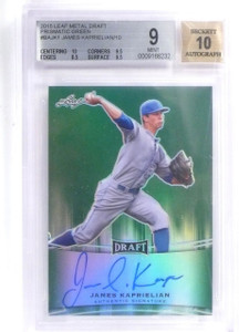 2015 Leaf Metal Draft Green James Kaprielian autograph rc #d09/10 BGS 9  *55812