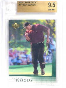2001 Upper Deck Tiger Woods rc rookie #1 BGS 9.5 GEM MINT *40461