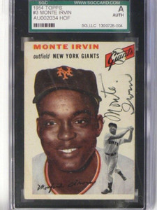 1954 Topps Monte Irvin #100 auto autograph SGC Authentic *37646