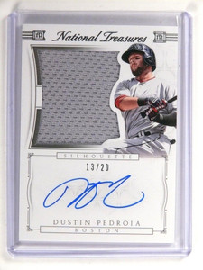 2015 National Treasures Silhouette Dustin Pedroia autograph jersey #D13/20 *5216