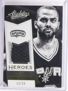 2015-16 Panini Absolute Tony Parker Heroes Prime Jersey #D12/25 #37 Spurs *54294