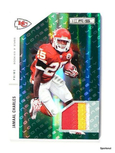 2011 R&S Jamaal Charles Longevity Patch Jersey Emerald Prime #d55/99 *44124