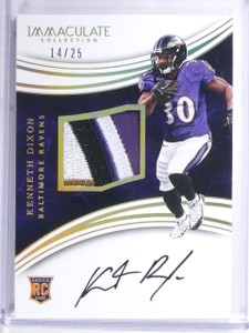 2016 Panini Immaculate Kenneth Dixon Rookie Patch Autograph #D14/25 #116 *60480