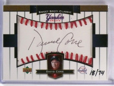 2003 UD Sweet Spot Yankee Greats David Cone Autograph auto #D18/74 #YGDC *59518