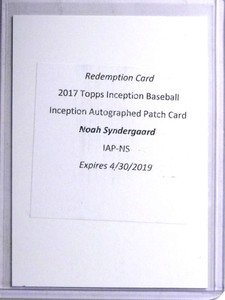 2017 Topps Inception Noah Syndergaard autograph auto patch  *67700