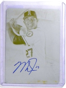 2014 Topps Supreme Mike Trout Yellow Printing Plate autograph auto #D 1/1 *68027