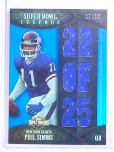 2011 Topps Triple Threads Super Bowl Legends Phil Simms jersey #D17/18 *68319