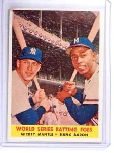 1958 Topps Batting Foes Mickey Mantle & Hank Aaron #418 VG *68391