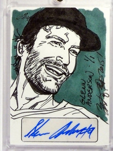 2015 Leaf Sports Masterworks Glenn Anderson autograph auto sketch 1/1 *48374