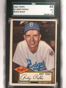 1952 Topps Andy Pafko #1 SGC 40 = 3 VG *69203