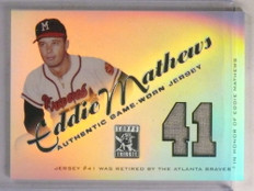 2001 Topps Tribute Retired Numbers Eddie Mathews jersey #RJ-EM *69890