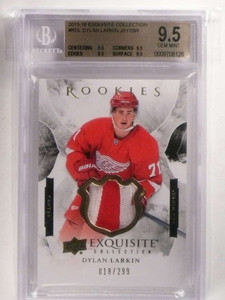 2015-16 Upper Deck Exquisite Dylan Larkin rc 2clr patch #D18/299 BGS 9.5 *69937