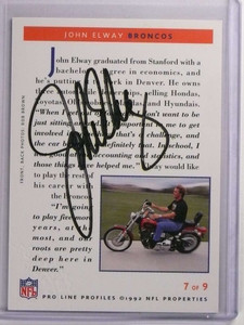 1992 Pro Line Profiles John Elway autograph auto #7of9 *70022