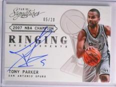 2013-14 Panini Signatures Ringing Tony Parker autograph auto #D05/20 *70128