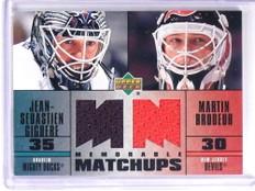 2003-04 Upper Deck Memorable Matchups Giguere Martin Brodeur Jersey *70895