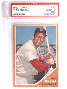 1962 Topps Stan Musial #50 PSA 9 OC MINT Cardinals *70946