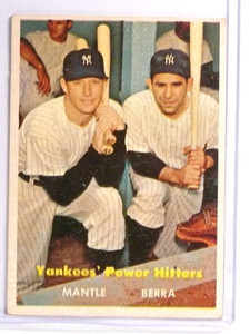 1957 Topps Yankees' Power Hitters Mickey Mantle & Yogi Berra #407 VG *71001