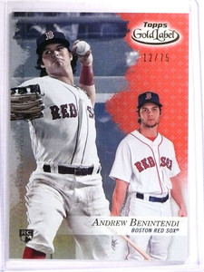 2017 Topps Gold Label Class 1 Red Andrew Benintendi Rookie RC #D12/75 #48 *71442