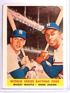 1958 Topps World Series Batting Foes Mickey Mantle Hank Aaron #418 VG *71348