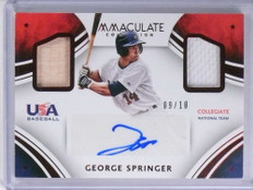 2016 Panini Immaculate USA George Springer autograph jersey bat #D09/10 *72011