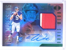 2017 Panini Illusions Davis Webb autograph auto patch rc rookie #D19/25 *72032