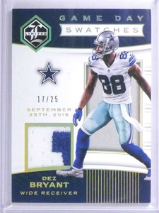 2017 Panini Limited Game Day Swatches Dez Bryant 2clr patch #D17/25 *72075