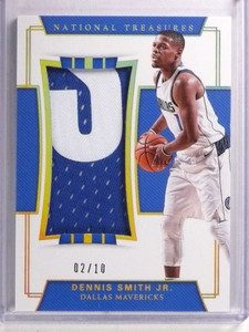 2017-18 National Treasures Dennis Smith Jr. Rookie patch #D02/10 #RJM-11 *72248