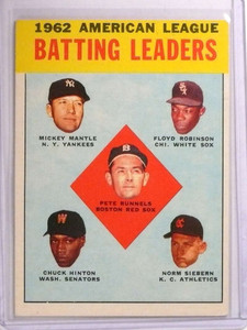 1963 Topps Batting Leaders Mickey Mantle Robinson #2 VG *72516