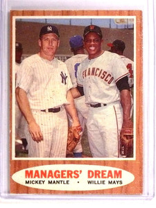 1962 Topps Manager's Dream Mickey Mantle Willie Mays #18 VG *72820
