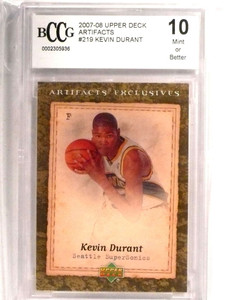 2007-08 Upper Deck Artifacts Kevin Durant rc rookie #219 BCCG 10  *72730