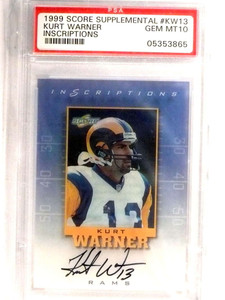 1999 Score Supplemental Kurt Warner autograph auto rookie #KW13 PSA 10  *72715