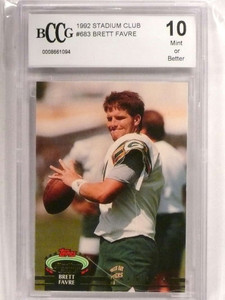 1992 Stadium Club High Number Brett Favre #683 Packers BCCG 10 MINT *72718