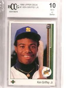1989 Upper Deck Ken Griffey Jr. rc rookie #1 BCCG 10 MINT OR BETTER *72966