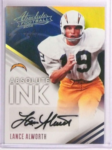 2014 Panini Absolute Ink Platinum Lance Alworth autograph auto #D 1/1  *72994