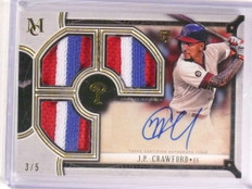 2018 Topps Museum Collection J.P. Crawford autograph 3x patch #D3/5 *73068