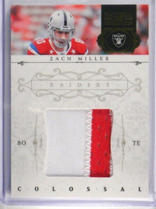 2011 National Treasures Colossal Zach Miller 2 Color patch #D16/49 *34220